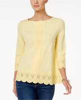 Charter Club Cotton Eyelet-Trim Top, Only at Macy's