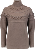 Agnona Fringe-trimmed wool and cashmere-blend turtleneck sweater