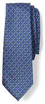 Lands' End Men's Silk Floral Lattice Necktie-Deep Sea/Blue Grass