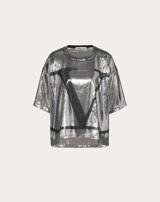 Valentino Vlogo Signature Jersey T-shirt Women Silver Polyester 100% S