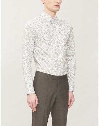 Tiger of Sweden Floral-print regular-fit cotton-poplin shirt