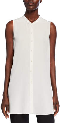 Eileen Fisher Button-Down Sleeveless Silk Crepe Shirt w/ Mandarin Collar