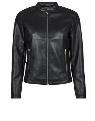 Dorothy Perkins Womens Petite Black Faux Leather Biker Jacket, Black