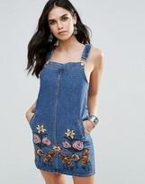 Glamorous Embroidered Denim Overall Dress