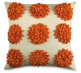 Dahlia Satin Tape Square Throw Pillow in Orange