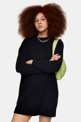 Topshop Womens Black Oversized Knitted Jumper Mini Dress - Black