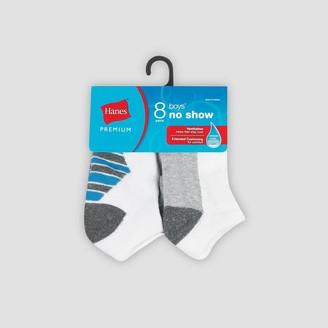 Hanes Premium Boys' 8pk No Show Athetic Socks -