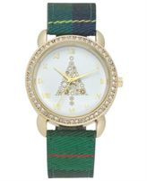 Charter Club Holiday Lane Women's Plaid Fabric Strap Watch 34mm, Created for Macy's