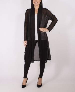 NY Collection Long Sleeve Foldover Shawl Collar Duster