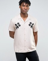 Asos Viscose Shirt With Revere Collar And Embroidered Floral Design In Pink