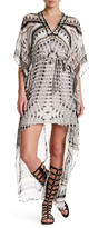 Hale Bob Embellished V-Neck Hi-Lo Print Dress