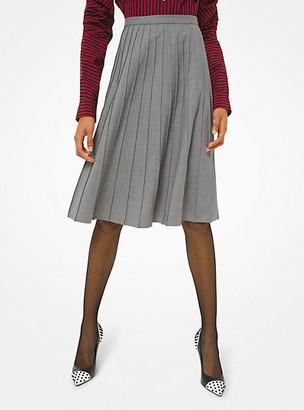 Michael Kors Stretch Tropical Wool Pleated Skirt