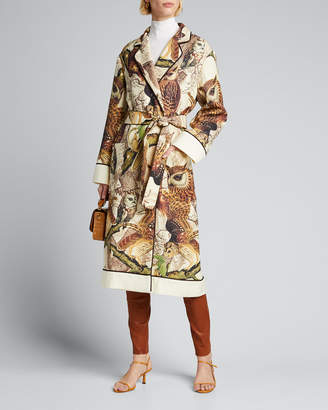 F.R.S For Restless Sleepers Owl Print Belted Wool Robe