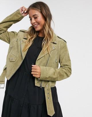 ASOS DESIGN suede biker jacket in olive