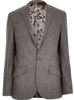 River Island MensGrey wool-blend slim suit jacket