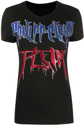 Philipp Plein rhinestone embellished logo T-shirt