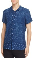 Scotch & Soda Paisley Short Sleeve Slim Fit Button-Down Shirt