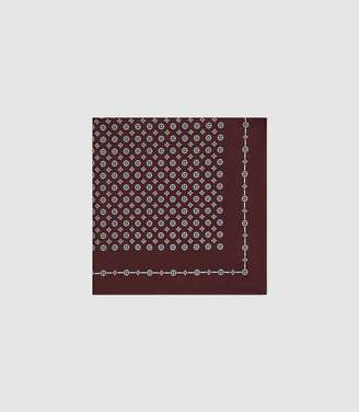 Reiss RAHEEM MEDALLION PRINTED SILK POCKET SQUARE Bordeaux