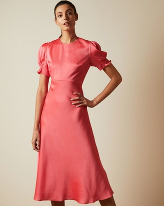 Ted Baker Bias Cut Dress With Puff Sleeves