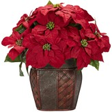Nearly Natural Red Decorative Silk Poinsettia Vase