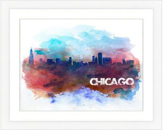Vintage Print Gallery Chicago Skyline Framed Graphic Art