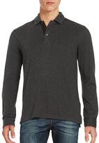 Black Brown 1826 Point Collar Long Sleeve Henley Shirt