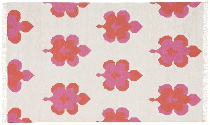Pottery Barn Leaf Medallion Lurex Dhurrie Rug - Bright Pink/Coral