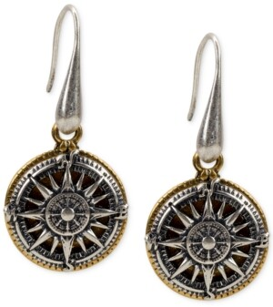 Patricia Nash Two-Tone Compass Drop Earrings
