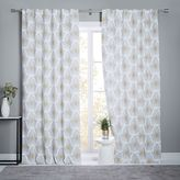 Stamped Ikat Linen Cotton Curtain + Blackout Lining - Frost Gray