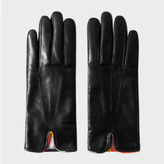 Paul Smith Women's Black Lambskin 'Artist Stripe' Trim Gloves