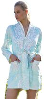 Crazy4Bling Wrap Up by VP Romantic Aqua Turquoise Microfiber Short Robe, S/M
