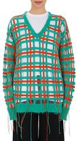 Esteban Cortazar Women's Plaid V-Neck Sweater