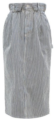 Miu Miu Paperbag-waist Logo-patch Striped Denim Skirt - Navy