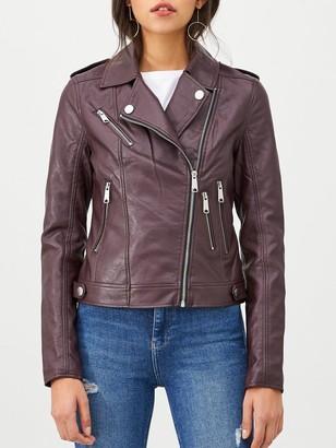 Very Faux Leather PU Jacket - Oxblood
