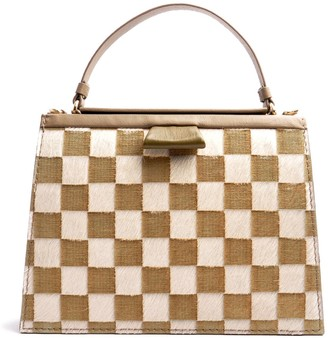 Ostwald Finest Couture Bags Turtle Edge Large In Olive Taupe & White