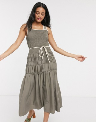 Moon River ruched midi dress with rope tie in dark olive