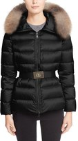 Moncler Women's 'Tatie' Belted Down Puffer Coat With Removable Genuine Fox Fur Trim