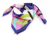 uxcell Blue Hem Colorful Stripes Pattern Polyester Neck Scarf Kerchief for Women