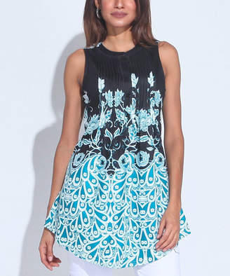 Reborn Collection Women's Tunics Aqua - Aqua & Black Floral Sleeveless Notch Neck Tunic - Women