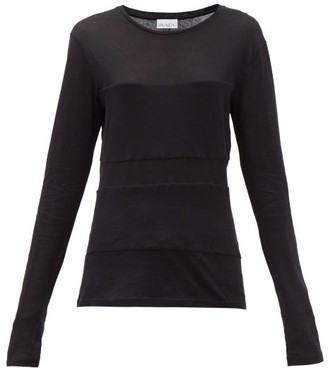 Raey Double-panel Long-sleeved Cotton-blend T-shirt - Black
