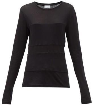 Raey Double-panel Long-sleeved Cotton-blend T-shirt - Womens - Black