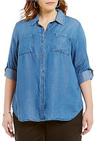 Intro Plus Roll-Tab Sleeve Button Front Denim Top