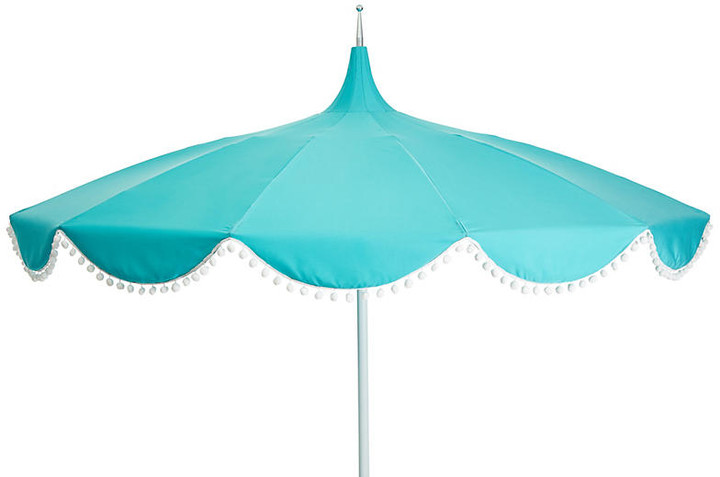 One Kings Lane Dani Pom-Pom Patio Umbrella - Aqua