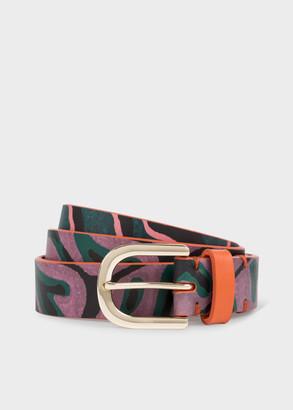 Paul Smith Women's Dusky Pink 'Climbing Ivy' Print Belt