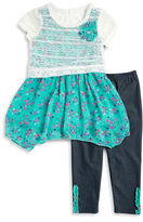 Nannette Girls 2-6x Lace Floral Dress and Leggings Set