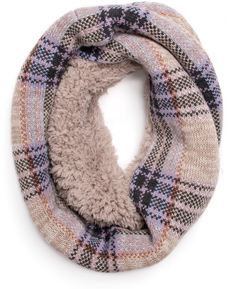 Muk Luks Women's Cold Weather Scarves Beige - Beige Plaid Infinity Scarf