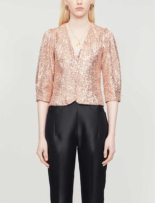 Maje Lipailette embellished sequin blouse