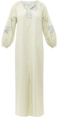 Luisa Beccaria Balloon-sleeve Embroidered Cotton-blend Kaftan - Womens - Cream Multi