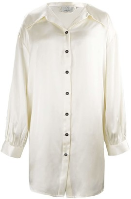 Not Just Pajama French Style Shirt Dress - White