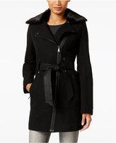 GUESS Faux-Fur-Collar Mixed-Media Asymmetrical Coat